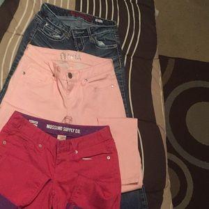 2 pair jeans. 1 pair capris size 1. (bag7
